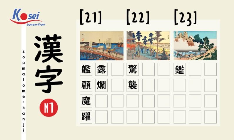 Kanji N1 theo số nét | 21, 22, 23