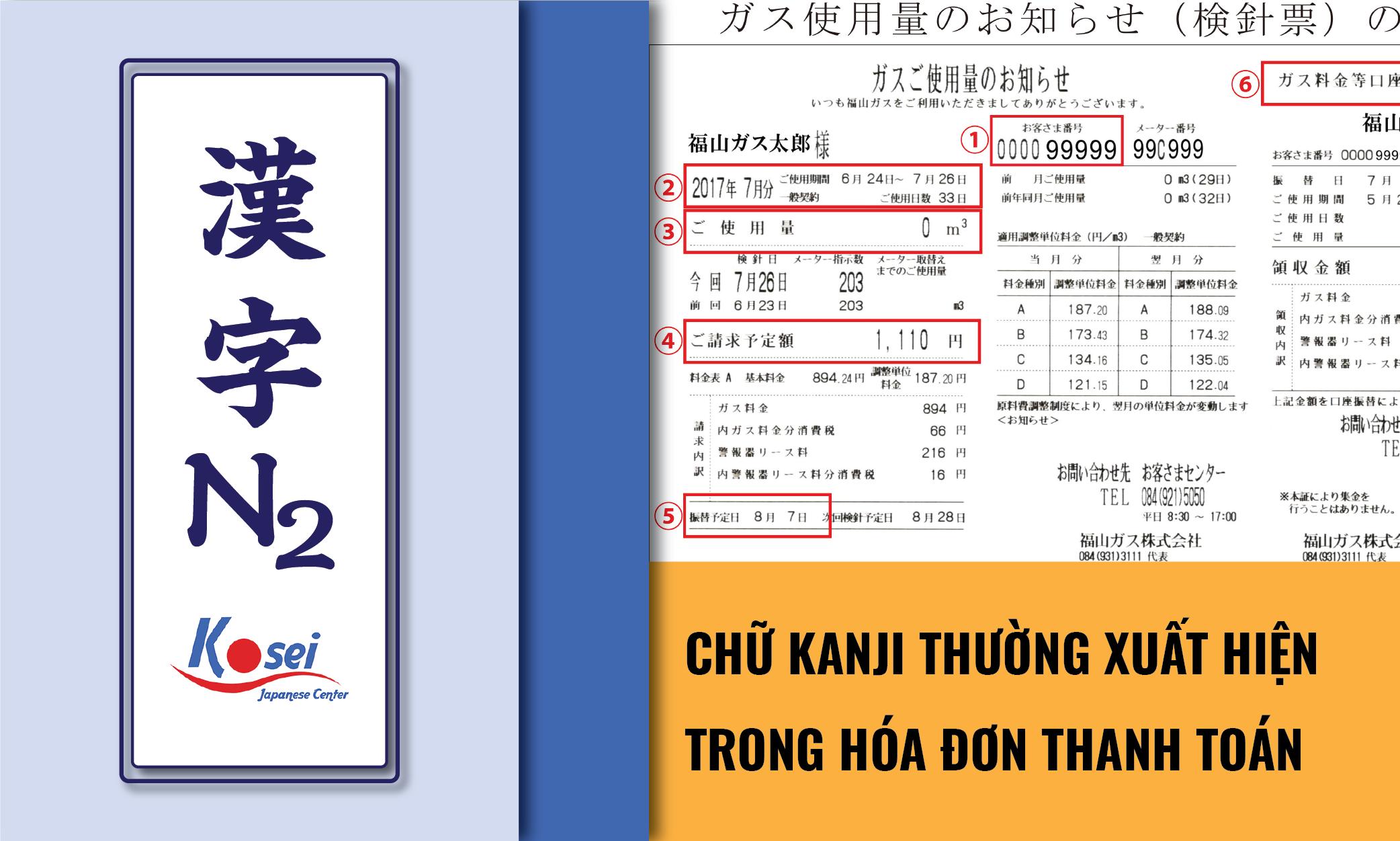 (Tổng hợp) Kanji N2: Các Kanji trên thông báo và mẫu đơn thanh toán các loại phí