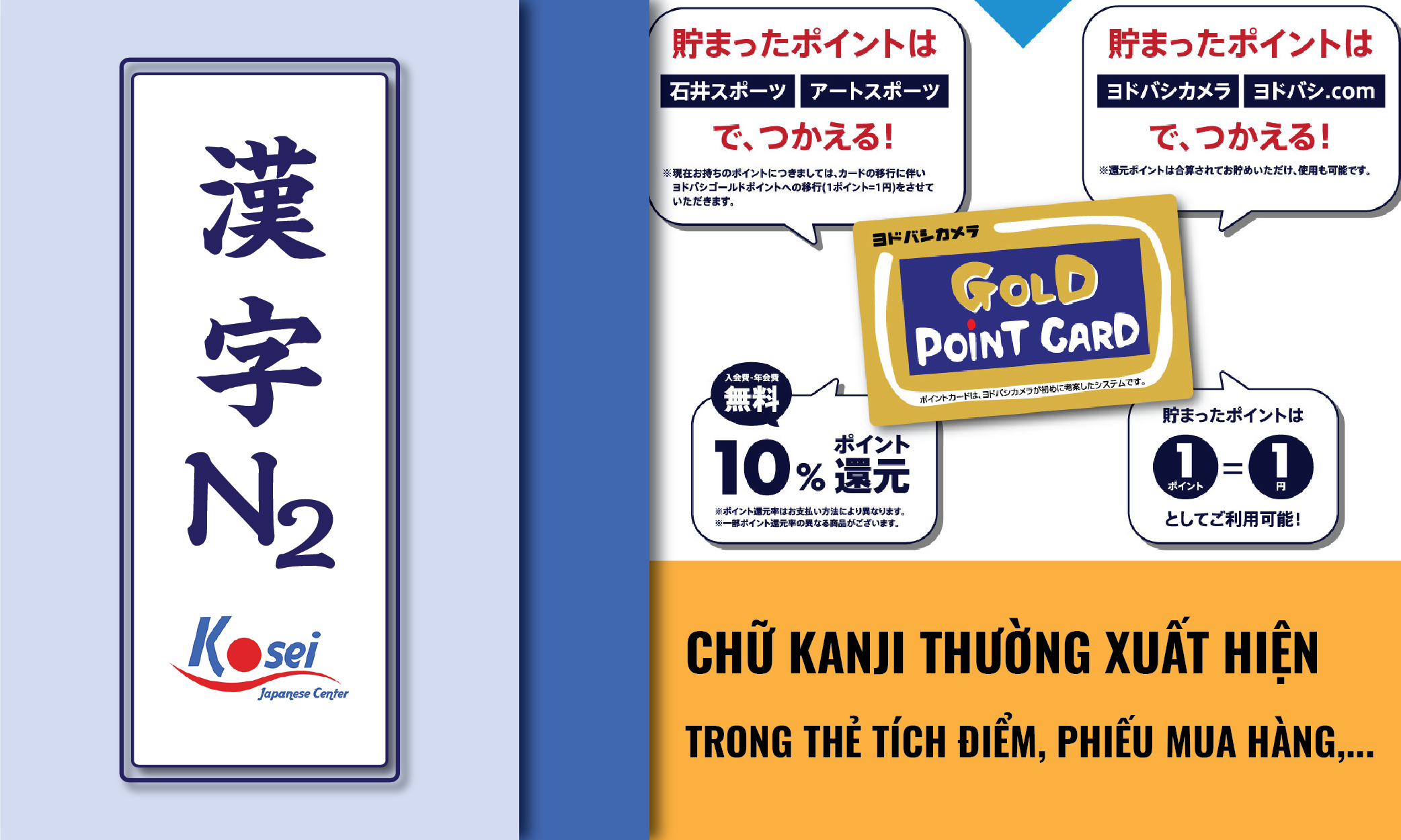 (Tổng hợp) Kanji N2: Các Kanji thường thấy trên Thẻ tích điểm, phiếu mua hàng, biên lai giặt là