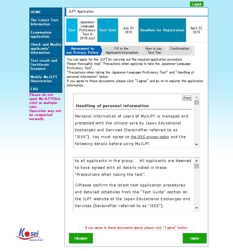 Bước 2: Đăng kí thi JLPT qua tài khoản My JLPT