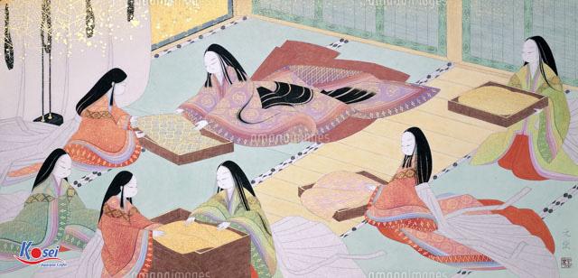 Một chiếc tenugui minh họa hình ảnh Nhật Bản xưa