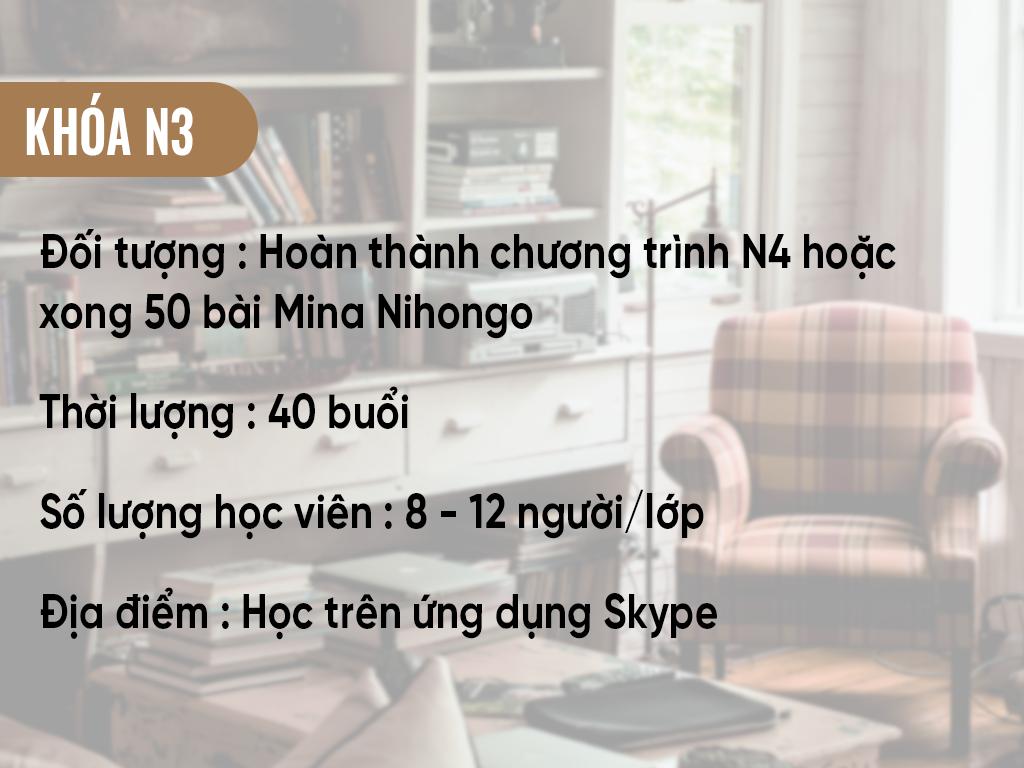 Thông tin khóa học N3 online qua Skype