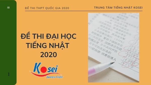 Đề thi đại học môn tiếng nhật 2020