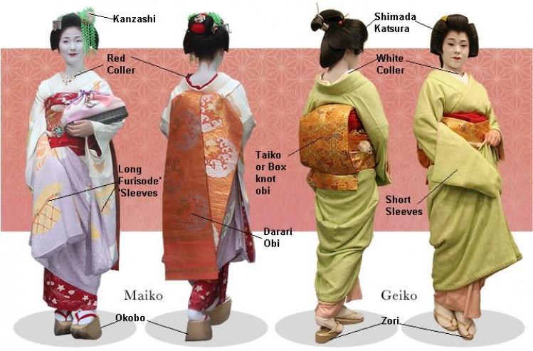 phân biệt geisha và maiko - cách trang điểm