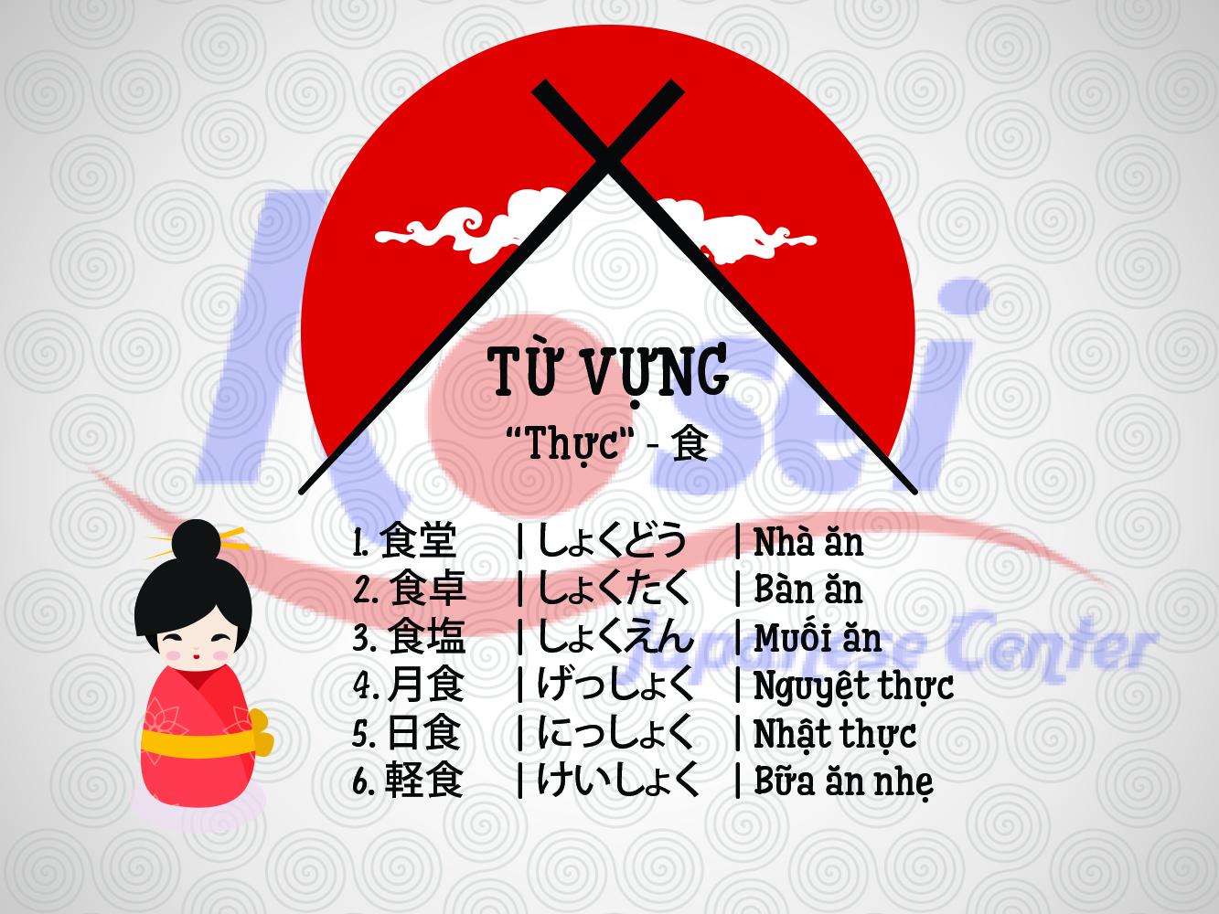 """Từ vựng Kanji liên quan đến bộ """"Thực"""" (食)"""