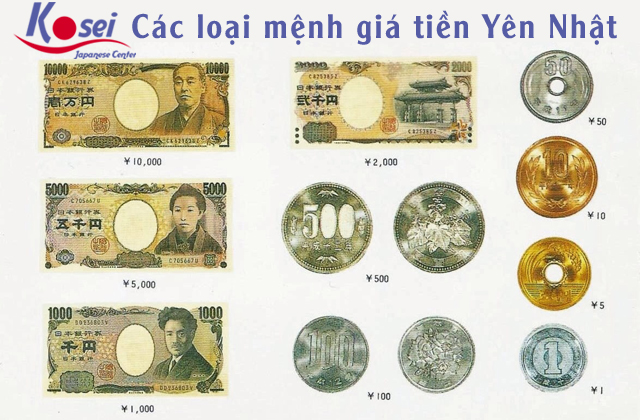 mệnh giá tiền yên nhật bản